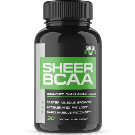 Sheer Strength Labs BCAA Capsules - Extra Strength 1,950mg Branched Chain Amino Acids Muscle Building Post Workout Supplement, 90 Easy-Swallow Veggie Caps, 30 Day