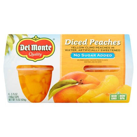 Del Monte No Sugar Added California Diced Peaches Yellow Cling Peaches In Water  3 75 Oz  4 Count