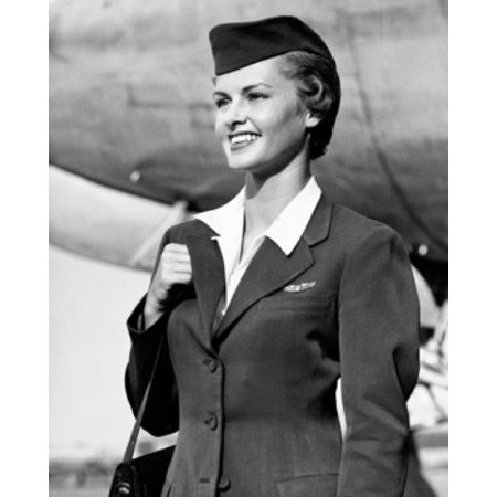Air Hostess Carrying A Bag And Smiling Poster Print