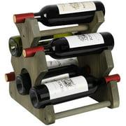 Wine Rack, 6-Bottles Wood Wine Bottle Holder, Free Standing Countertop Wine Racks Storage Rustic Gray