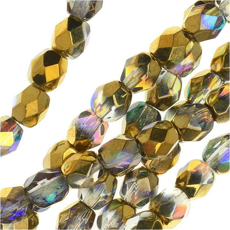 - Czech Fire Polished Glass, Faceted Round Beads 4mm, 40 Pieces, Crystal Golden Rainbow