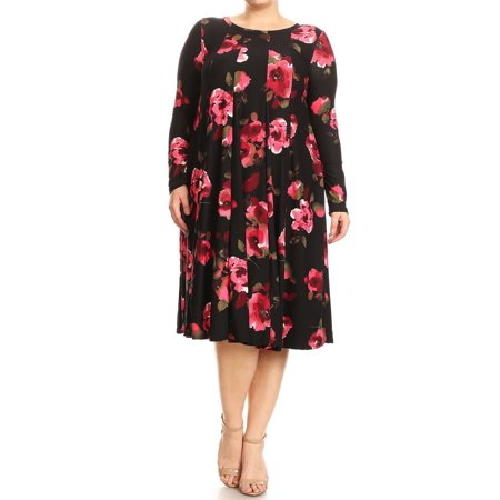 Plus Size Women's Trendy Style Long Sleeves Printed Midi