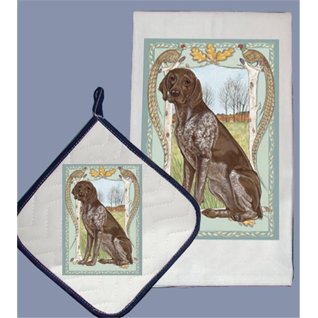 Pipsqueak Productions DP951 Dish Towel and Pot Holder Set - German Pointer