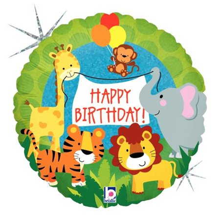 Betallic 86616 18 in. Jungle Animal Birthday Holo Flat Foil Balloon, Pack of 5