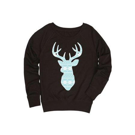 Deer Winter Sweater Snowflake Pattern Antlers Cold Weather Fashion-Ladies