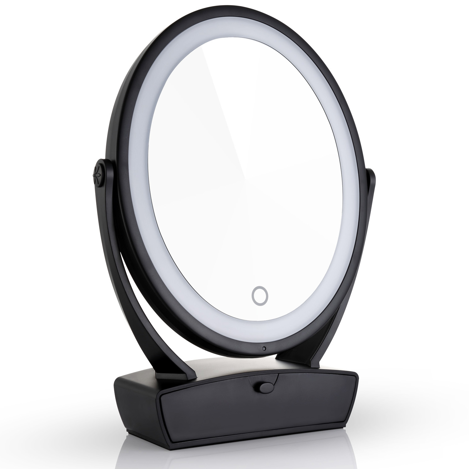 Miusco Two Sided Lighted Makeup Mirror With Vanity Drawer