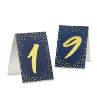 Navy and Gold Foil Tented Table Numbers 1-18, Great for Weddings
