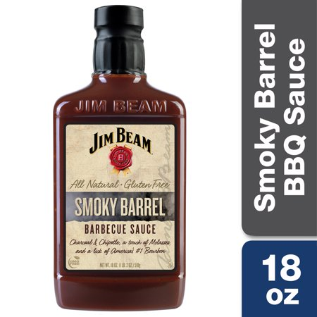 Jim Beam Smoky Barrel Barbecue Sauce, BBQ Grilling Sauce, 18 oz.