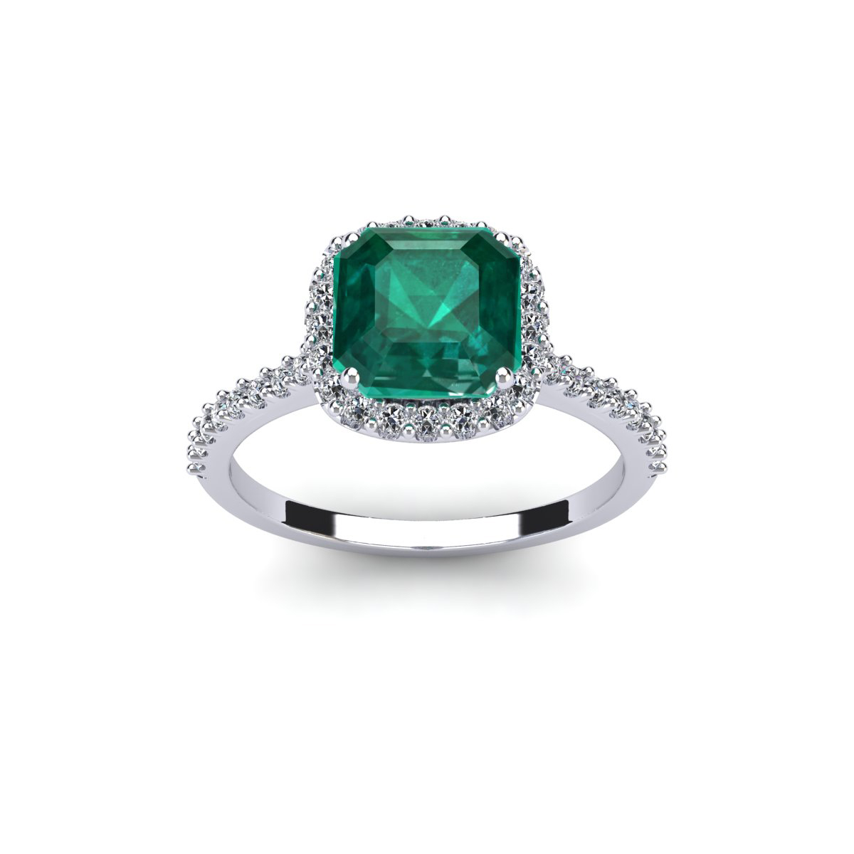 SuperJeweler 2 Carat Cushion Cut Emerald and Halo Diamond...