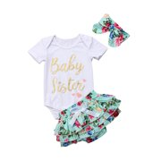 Newborn Infant Baby Girls Outfit Clothes Tops Romper Bodysuit+Headband+Pants Set