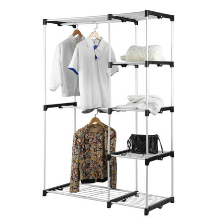 (Steel And Resin Frame Double Rod Closet Wardrobe Free Standing Sturdy Garment Rack Clothes Storage Organizer White)