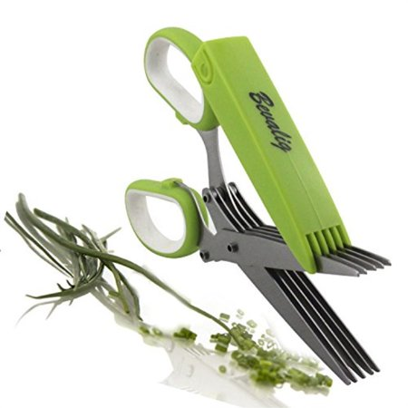 - Herb Scissors Snip, Chop and Cut Herbs 5 Sharp Blades Stainless Steel Multipurpose Kitchen Shear with Cover and Cleaning Comb