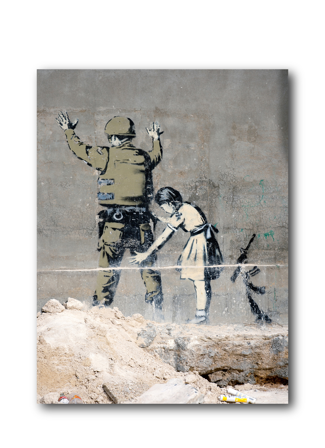 "Banksy Girl Searching Soldier Brushed Aluminum Metal Print (14"" x 11"") by Pingotopia Inc."