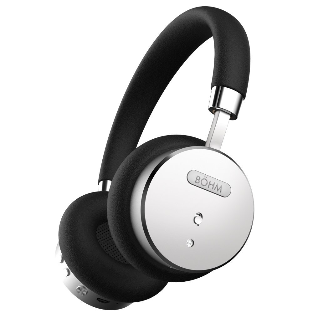 BÖHM B-66 Wireless Bluetooth Headphones with Active Noise Cancelling Headphones Technology - Features Enhanced Bass, Inline Microphone & 18-Hour (Max) Battery - Black/Silver