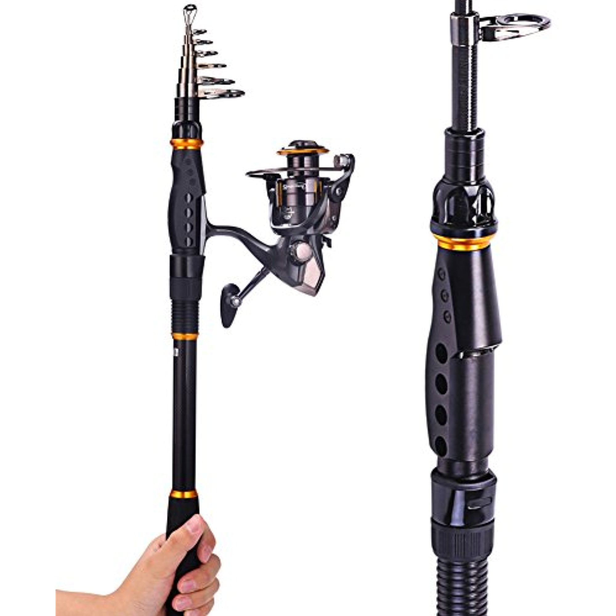 Click here to buy Sougayilang Spinning Telescopic Graphite Fishing Rod with Reel Combos Travel Portable Fishing Rods Pole and Fishing Reel....