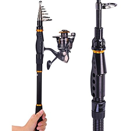 Graphite Telescopic Rod - Sougayilang Spinning Telescopic Graphite Fishing Rod with Reel Combos - Travel Portable Fishing Rods Pole and Fishing Reel Kit