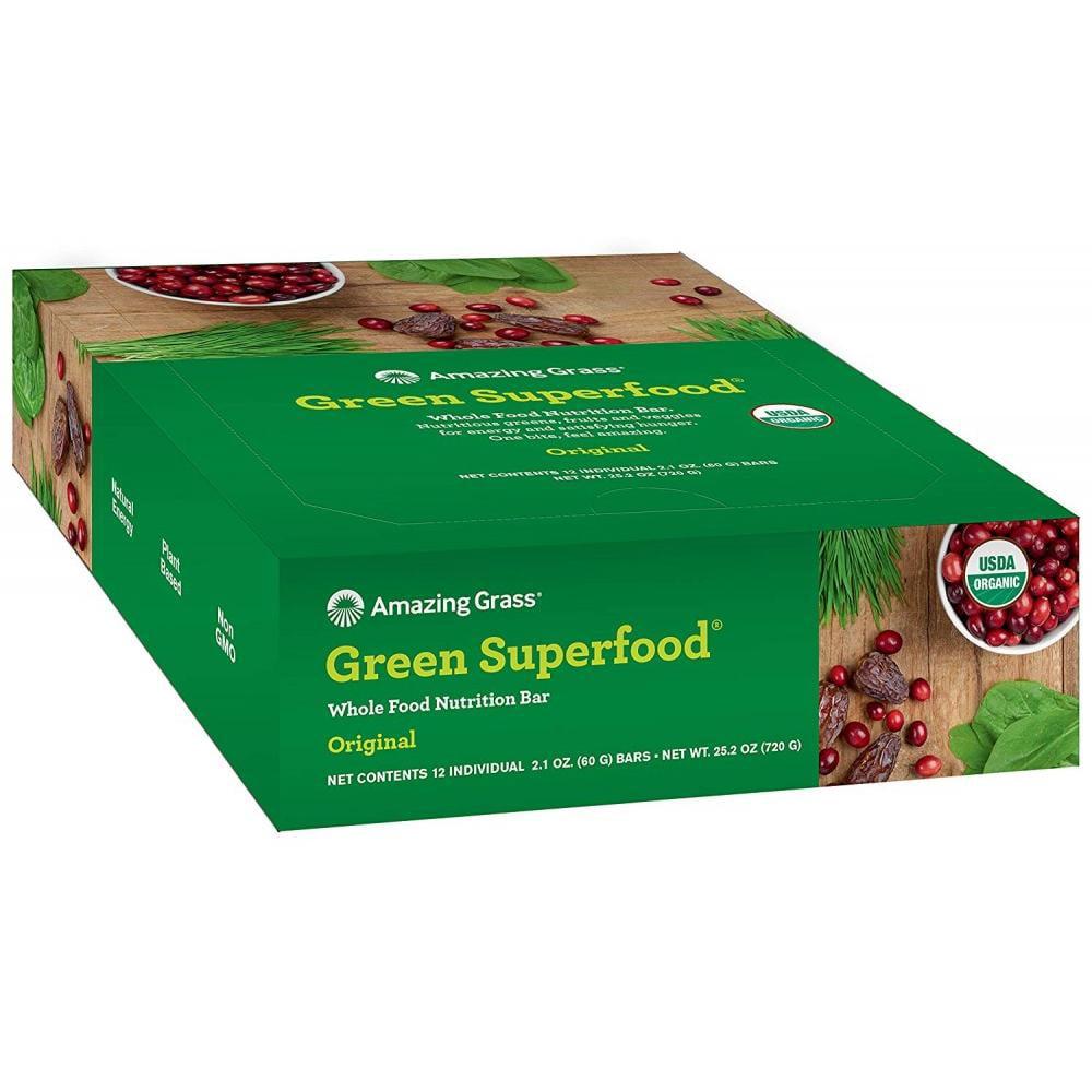 Amazing Grass Green Superfood Nutrition Bars, Original, 12 Ct