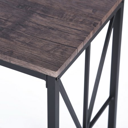 Furniture R Console Sofa Table Wooden Top Desk Metal Frame (Dark Brown) - image 1 of 6