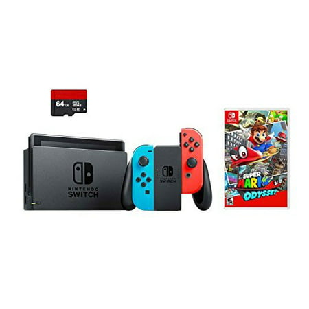 Refurbished Nintendo Switch 3 Items Bundle Super Mario Odyssey Bundle