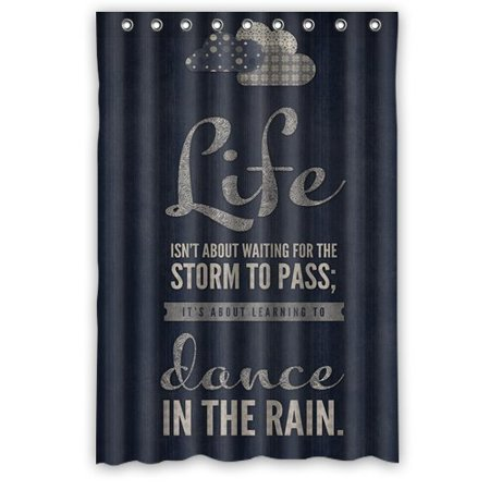 Ganma Life Isn't About Waiting The Storm To Pass It's About Learning To Dance In The Rain Inspirational Quotes Navy Blue Shower Curtain Polyester Fabric Bathroom Shower Curtain 48x72 - Bathroom Passes
