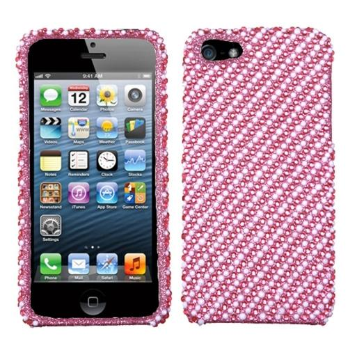 Insten Stripe White/Pink Diamante Phone Case for Apple iPhone SE / 5S / 5
