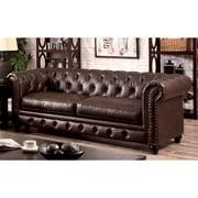 Furniture of America Tufted Glam Faux Leather Nyssa Tuxedo Sofa, Brown
