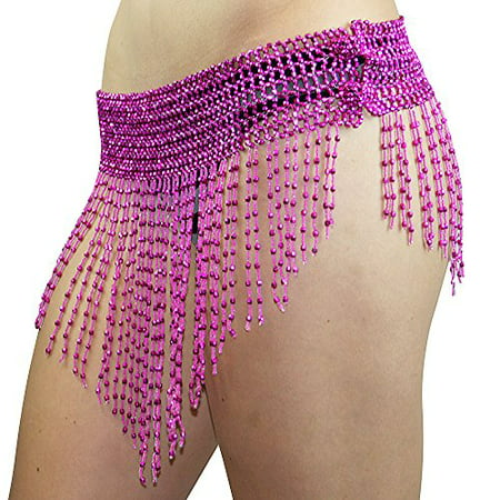 Beaded Elastic Waist Rave Belly Dance Skirt Hip Scarf Halloween Costume One Size Belt Belly Dancer Costume Waist Chain Red (Belly Dancers Costumes Halloween)