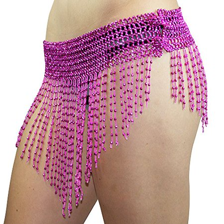 Beaded Elastic Waist Rave Belly Dance Skirt Hip Scarf Halloween Costume One Size Belt Belly Dancer Costume Waist Chain Red - Ballroom Dancer Costume