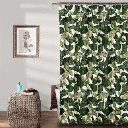 Green Toile Shower Curtain (Tropical Paradise Shower Curtain Green 72x72 )