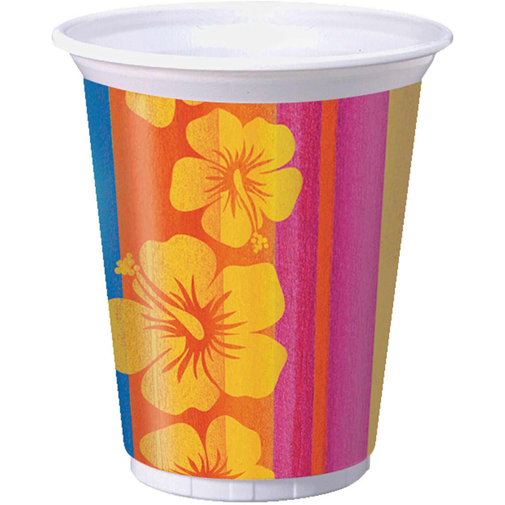 Sunset Stripes Printed Plastic Cup, 16 oz, 8pk
