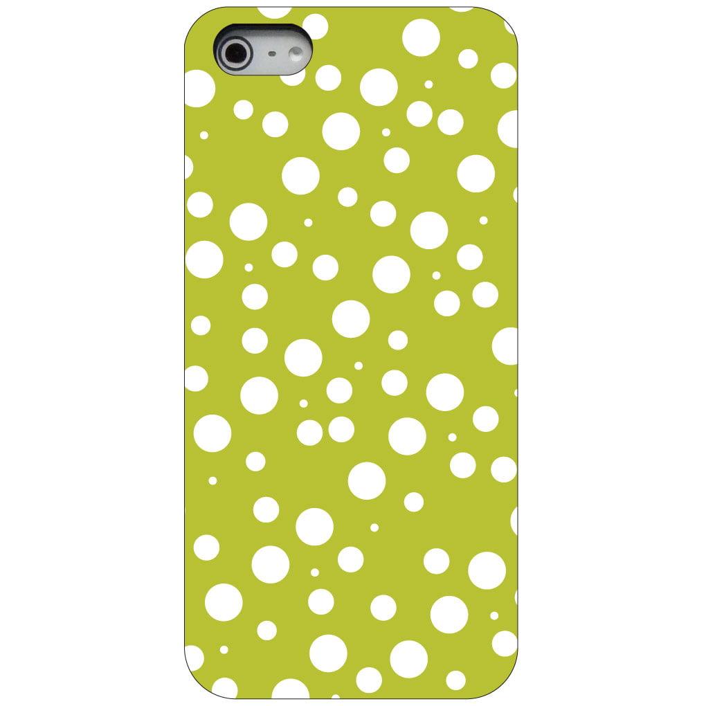 CUSTOM Black Hard Plastic Snap-On Case for Apple iPhone 5 / 5S / SE - Green White Bubbles Polka Dots
