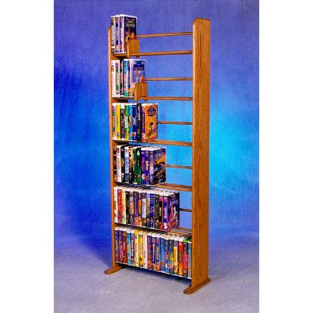 The Wood Shed Solid Oak 6 Row Dowel VHS Disney Clamshell Style Media Rack