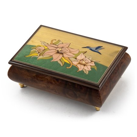Handcrafted Tropical Theme Inlay Music Box With Hummingbird And Floral Design, Music Selection - I Want To Hold Your Hand (The Beatles)