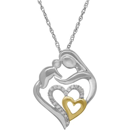 1/10 Tcw Diamond MotherS Jewel Heart Pendant In Sterling Silver With 18kt Yellow Gold Plating, - Jewel Heart
