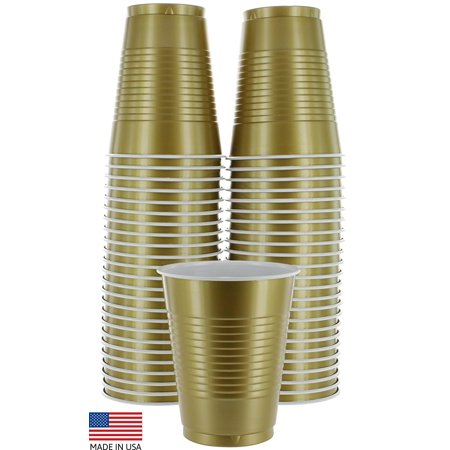 Birthday Party Cups (Amcrate Gold Colored 16-Ounce Disposable Plastic Party Cups - Ideal for Weddings, Party's, Birthdays, Dinners, Lunch's. (Pack of 50) )