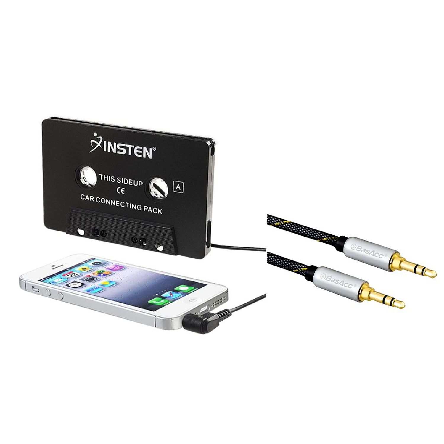 Insten Aux Cassette Adapter for Car Universal In Car Audio Tape Cassette Adapter Converter Black (Combo with 3.5mm Aux Auxiliary Audio Stereo Extension M/M Cable) - Bundle Set