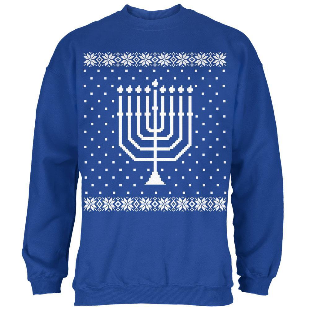 Big Menorah Ugly Hanukkah Sweater Royal Adult Sweatshirt