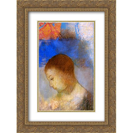 Odilon Redon 2x Matted 20x24 Gold Ornate Framed Art Print 'Portrait of Ari Redon in