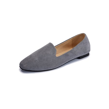 Woman High Quality Suede Flat Head Rubber Sole Leisure Comfortable Work Flat
