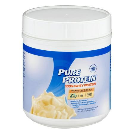 Pure Protein 100% Whey Protein Powder, Vanilla Cream, 25g Protein, 1 Lb