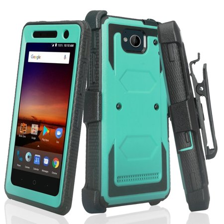 - ZTE Majesty Pro Case, ZTE Majesty Pro Plus Case with Built-in [Screen Protector] Heavy Duty Full-Body Rugged Holster Case [Belt Clip][Kickstand] For ZTE Majesty Pro/Majesty Pro Plus, Teal