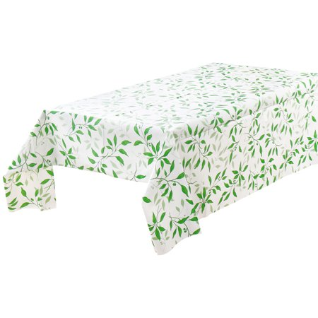 Pvc Plastic Rectangle Water Oil Resistant Tablecloth Green