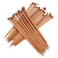 36 Pcs Single Pointed Smooth Premium Carbonized Brown Bamboo Knitting Needles Set with 18 Different Sizes 2mm-10mm
