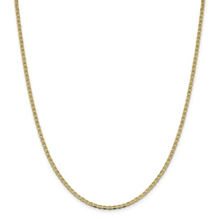 14k Yellow Gold 2.4mm Flat Link Anchor Necklace Chain Pendant Charm Gifts For Women For -