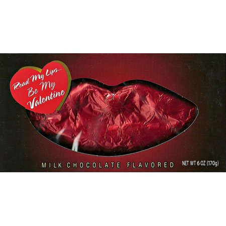 Read My Lips - Be My Valentine Red Foil Milk Chocolate Shaped Lips 6 Ounce