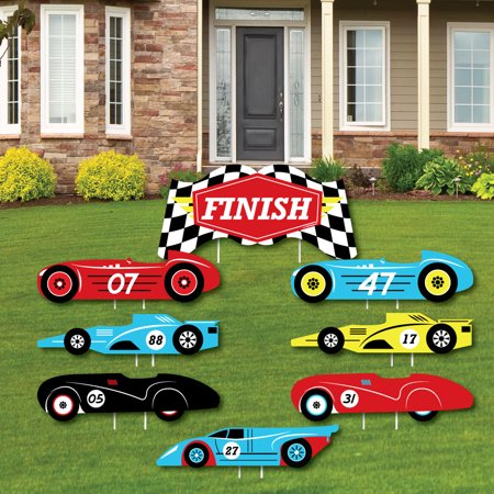 Let's Go Racing - Racecar - Yard Sign & Outdoor Lawn Decorations - Race Car Birthday Party or Baby Shower Yard Signs-8 C