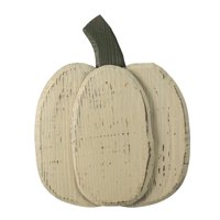 """10.5"""" Small White Wooden Fall Harvest Pumpkin with Stem"""