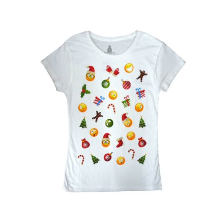 - Holiday Junior Women Smiley Face Emoticon Holiday T-Shirt Christmas Tee Shirt S