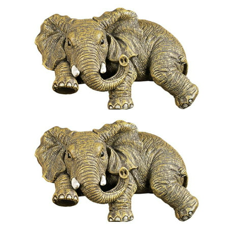 Design Toscano Ernie the Elephant Shelf Sitter Sculpture: Set of Two