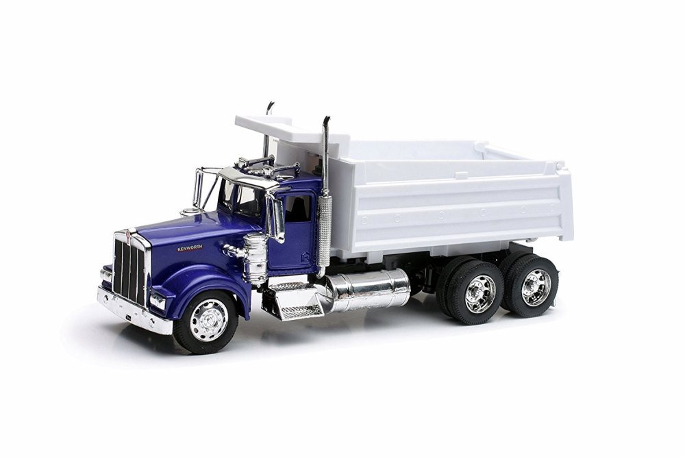 Kenworth W900 Dump Truck, Blue & White New Ray 10863 1 32 Scale Model Farm Vehicle by New Ray